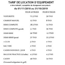 tarifs Extras 2019