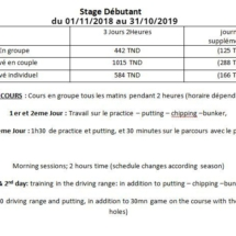 tarifs stage débutant 2019